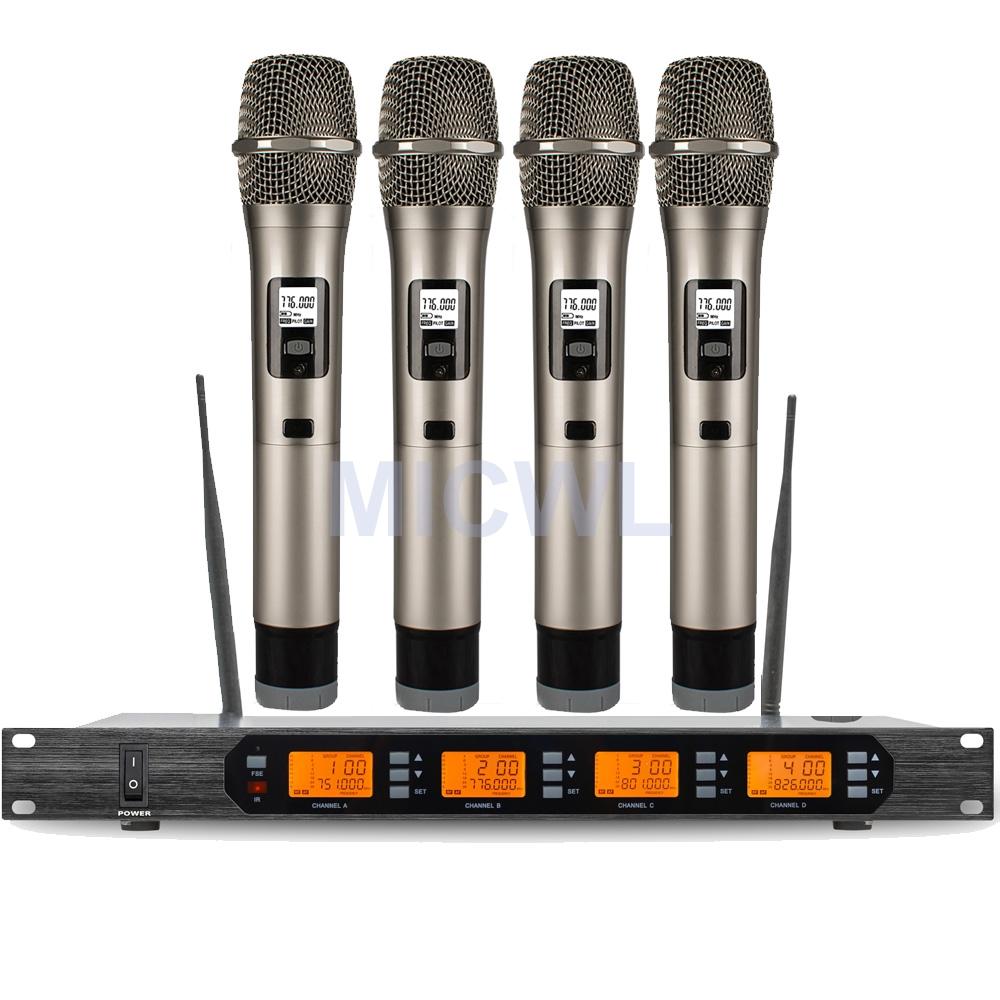 MICWL D400 4 ×100 Channel Handheld Beltpack Headset Lavalier Wireless Microphone System